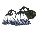 Vintage Tiffany Style Stained Glass Wall Sconce with Headmade Glass Shade in Colorful, 16-Inch Width