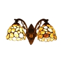 Tiffany Style Wall Lamp with 2 Light Jewel Handmade Glass Shade
