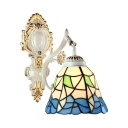 Single Light with Multi-colored Glass Shade Tiffany Style 8
