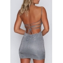 Stylish Hollow Lace Up Back Sexy Spaghetti Straps Sleeveless Mini Bodycon Dress