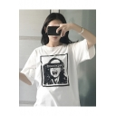 DEPRESSED Character Printed Round Neck Short Sleeve Tee