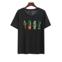 Sequined Cactus Printed Round Neck Short Sleeve Tee