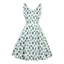 Cactus Potted Printed V Neck Sleeveless Midi A-Line Dress