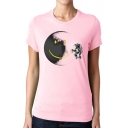 Astronaut Cartoon Moon Print Round Neck Short Sleeve Tee