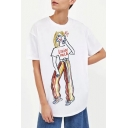 Stylish Cartoon Letter Print Round Neck Short Sleeves Summer Tee