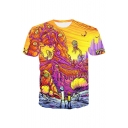 New Trendy Cartoon Character Printed Round Neck Short Sleeve Leisure Tee