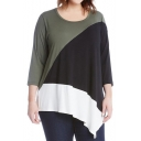 Comfort Color Block Round Neck Asymmetric Hem Loose Tee