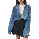 Spring Fashion Single Breasted Lapel Long Sleeve Pocket Detail Cropped Denim Jacket