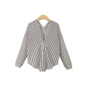 New Trendy V Neck Striped Printed Buttons Down Long Sleeve Shirt