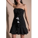 Chic Polka Dot Print Strapless Ruffle Hem Mini Bandeau A-line Dress