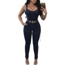 Pop Fashion Plain Square Neck Sleeveless Slim Fit Denim Jumpsuit with Chain Belt