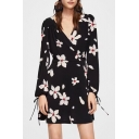 Floral Printed V Neck Long Sleeve Mini A-Line Wrap Dress
