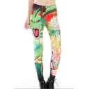Cartoon Dragon Character Printed Elastic Waist Skinny Leggings