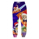 Top Sale Cat with Christmas Hat on Pizza Print Casual Sports Pants