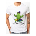 Cartoon Floral Cactus Letter Printed Round Neck Short Sleeve Tee