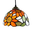 Dome Shade Sunflower Theme Downward Ceiling Fixture, Tiffany 7.5