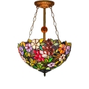 Various Flower Tiffany Inverted Hanging Light Fixture in Rural Style, 3 Light with 16
