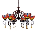 Tiffany 6-Light Chandelier with Dragonfly Pattern Glass Shade