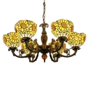3/6-Light Yellow Glass Shade Upward Sunflower Pattern Chandelier
