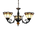 Classic 3-Light Stained Glass Shade Chandelier in Olde Bronze Finish