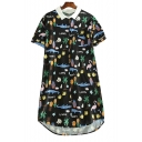 Animal Fruit Printed Contrast Lapel Collar Short Sleeve Midi Shirt Dress