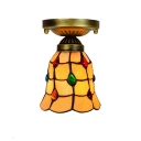 Semi Flush Mount Fixture with Multi-Colored Jewels, Tiffany Art Glass, 6-Inch Wide