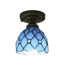 Vintage Style Tiffany Dome Shade Semi Flush Mount Light with Stained Glass in Blue, 6-Inch Wide