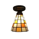 Orange/Green Semi Flush Mount Ceiling Light with Tiffany Plaid Pattern Glass Shade, 6