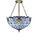 Baroque Blue Semi Flush Mount with Tiffany 16-Inch Wide Art Glass Lampshade, 3-Light