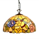 Colorful Dome Glass Shade Ceiling Pendant Fixture in Tiffany Dragonfly Floral Style, Two Light 16