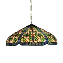 Multicolored Tiffany Style 2 Light Ceiling Pendant with Dome Glass Shade, 16-Inch Wide