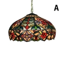 Two Light Floral Shade Tiffany-Style Art Glass Hanging Lamp, 16