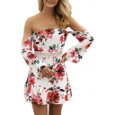 Long Sleeve Off the Shoulder Lace Panel Hollow Out Waist Mini A-line Dress