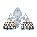 Vintage Art Tiffany Style Wall Sconce with Grid Pattern Embellished in Blue, 2-Light