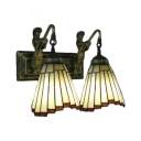 Stained Glass Shade 2-Light Wall Sconce with Belle Supported Lampbase