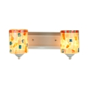 Mosaic Style 2 Light Multi-colors Stained Glass Shade Sconce Lighting,19