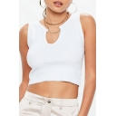 U Shaped Neck Hollow Out Ribbed Sleeveless Crop Tank