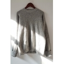 Winter Collection Round Neck Long Sleeve Plain Warm Pullover Sweatshirt
