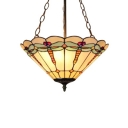 Tiffany-Style Colorful Glass Semi Flush Fixture with 3-Light, 6-Inch Wide Conical Shade