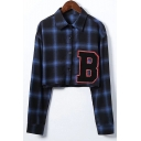 B Letter Applique Lapel Collar Plaid Printed Long Sleeve Crop Shirt