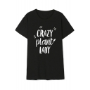 CRAZY PLANT LADY Short Sleeve Round Neck Simple Tee