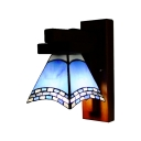 Tiffany Style Floral Wall Sconce Lighting in Blue 6 Inch Wide