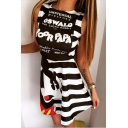 Lovely Cartoon Mouse Letter Striped Pattern Round Neck Mini A-line Tank Dress