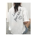 Leisure Loose Letter Heart Printed Back Round Neck Short Sleeve Tee
