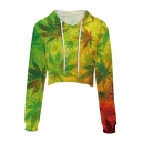 Maple Leaf Printed Long Sleeve Drawstring Hood Leisure Crop Hoodie