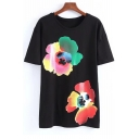 Top Sale Floral Print Round Neck Short Sleeves Summer Tee