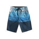 Map Print Drawstring Waist Pocket Side Beach Leisure Shorts