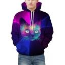 Cool Cartoon Cat Print Color Block Long Sleeves Pullover Unisex Hoodie