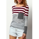 Color Block Striped Printed Round Neck Long Sleeve Tee with Pocket