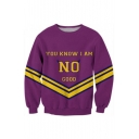 Color Block Letter Printed Round Neck Long Sleeve Pullover Sweatshirt